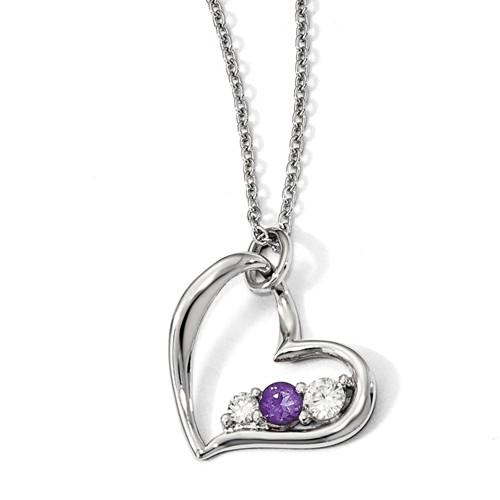 Sterling Silver Survivor Purple Topaz Heart of Strength Necklace