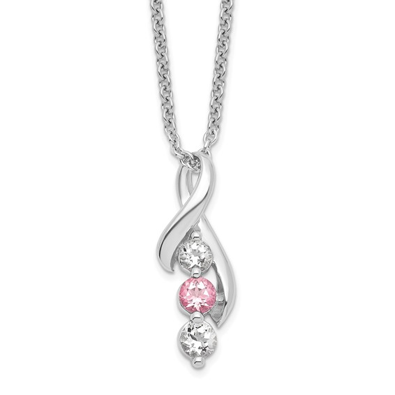 Sterling Silver Survivor Pink Swarovski Topaz Ribbon Necklace