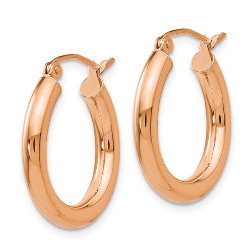 14kt Rose Gold 3/4in Round Hoop Earrings 3mm