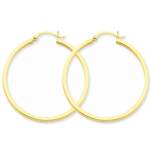 14kt Yellow Gold 1 1/2in Square Tube Hoop Earrings 2mm