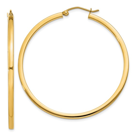 14kt Yellow Gold 1 3/4in Square Tube Hoop Earrings 2mm