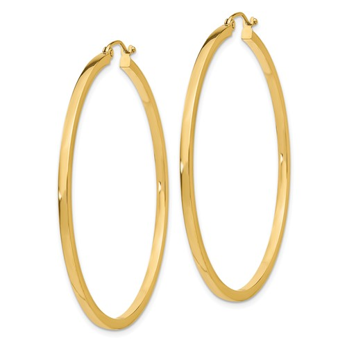 14kt Yellow Gold 2in Square Tube Hoop Earrings 2mm
