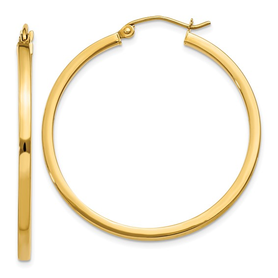14kt Yellow Gold 1 3/8in Square Tube Hoop Earrings 2mm