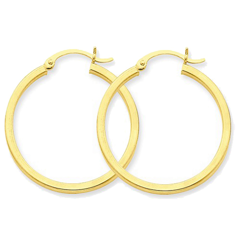 14kt Yellow Gold 1 1/4in Square Tube Hoop Earrings 2mm