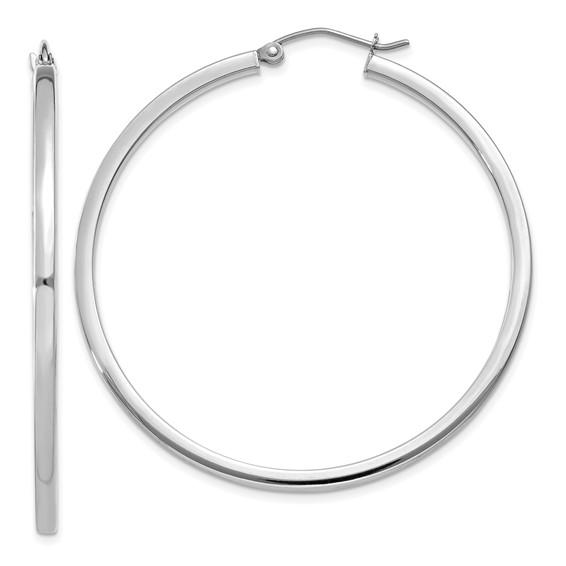 14kt White Gold 1 3/4in Square Tube Hoop Earrings 2mm