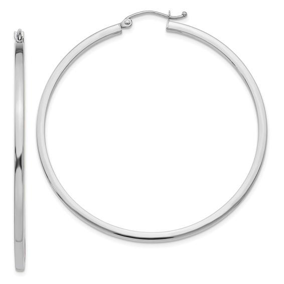 14kt White Gold 2in Square Tube Hoop Earrings 2mm