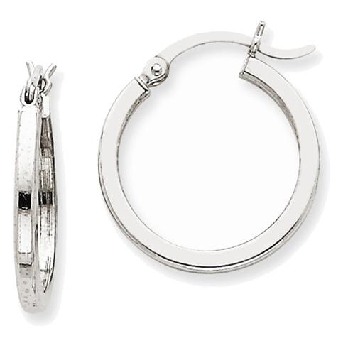 14kt White Gold 3/4in Square Tube Hoop Earrings 2mm