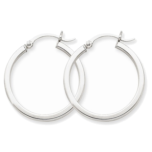 14kt White Gold 1in Square Tube Hoop Earrings 2mm
