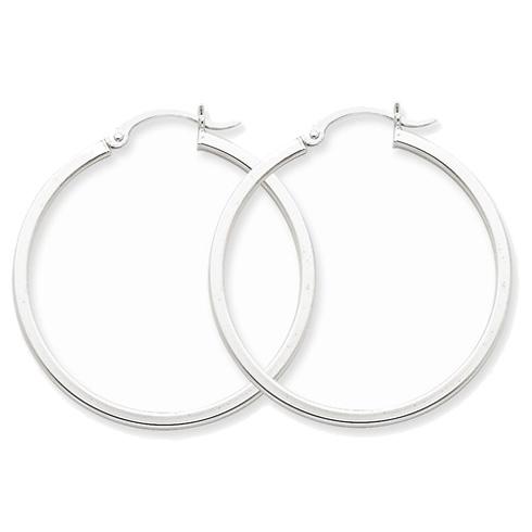 14kt White Gold 1 3/8in Square Tube Hoop Earrings 2mm