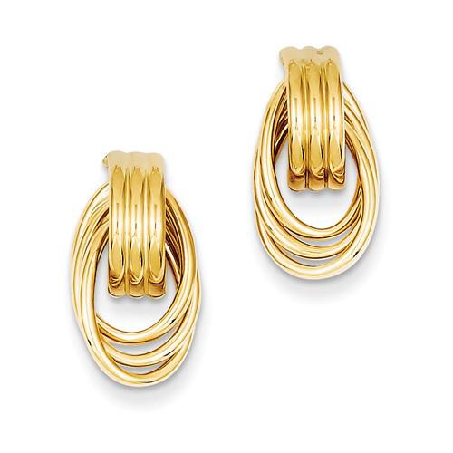 14kt Yellow Gold 1in Ribbed Triple Oval Hoop Post Earrings