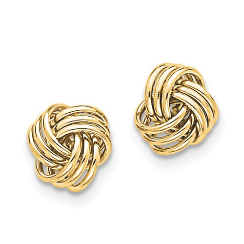 14kt Yellow Gold 1/2in Triple Knot Polished Post Earrings