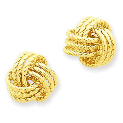 14kt Yellow Gold 1/2in Braided Love Knot Earrings