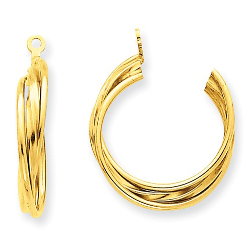 14kt Yellow Gold 3/4in Triple Hoop Earring Jackets