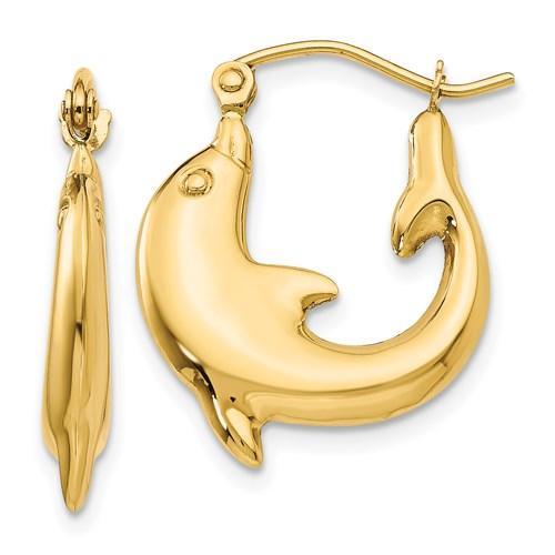 14kt Yellow Gold 3/4in Dolphin Hoop Earrings