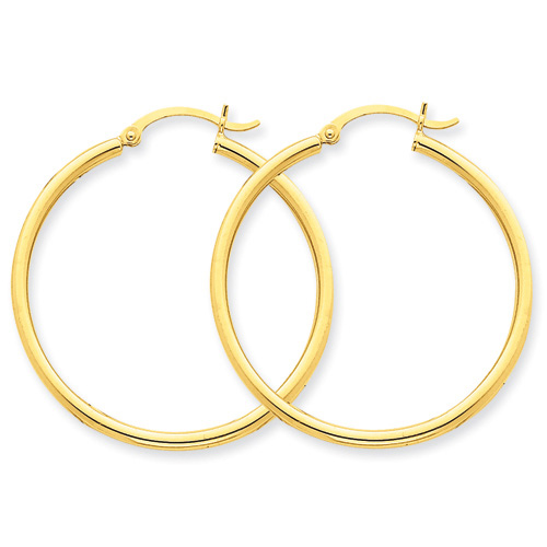 14kt Yellow Gold 1 3/8in Round Tube Hoop Earrings 2mm
