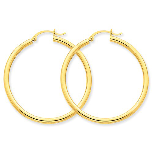14kt Yellow Gold 1 1/2in Round Hoop Earrings 2.5mm
