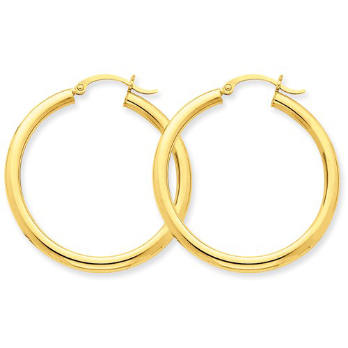 14kt Yellow Gold 1 3/8in Round Tube Hoop Earrings 3mm