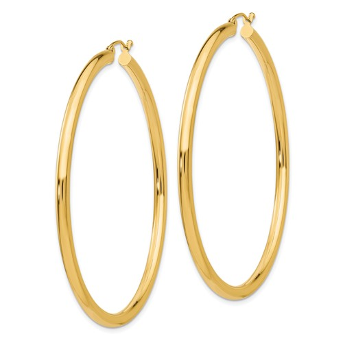 14kt Yellow Gold 2 3/8in Round Hoop Earrings 3mm