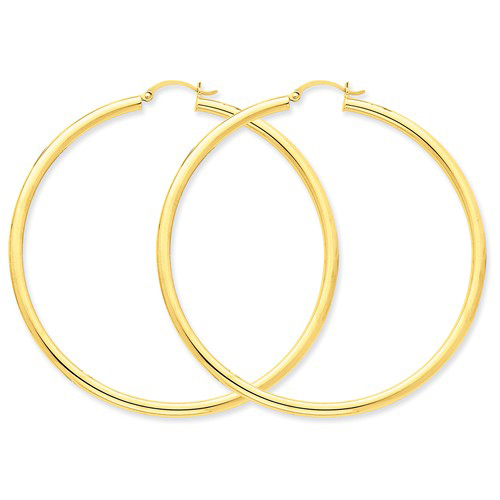 14kt Yellow Gold 2 1/2in Round Hoop Earrings 3mm