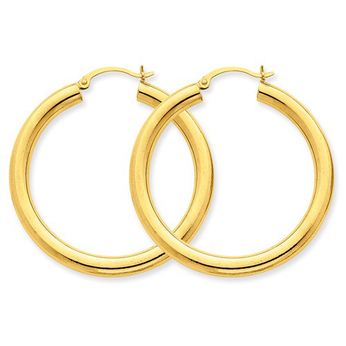14kt Yellow Gold 1 1/2in Round Hoop Earrings 4mm