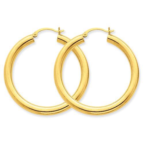14kt Yellow Gold 1 1/2in Round Hoop Earrings 4mm