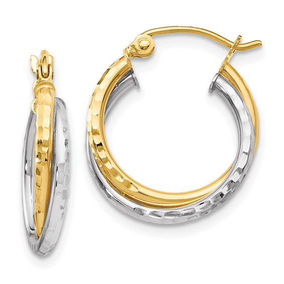 10kt Two-tone Gold 5/8in Twisted Diamond-cut Hoop Earrings