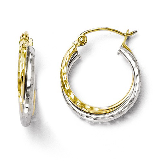 10kt Two-tone Gold 5/8in Twisted Diamond-cut Hoop Earrings