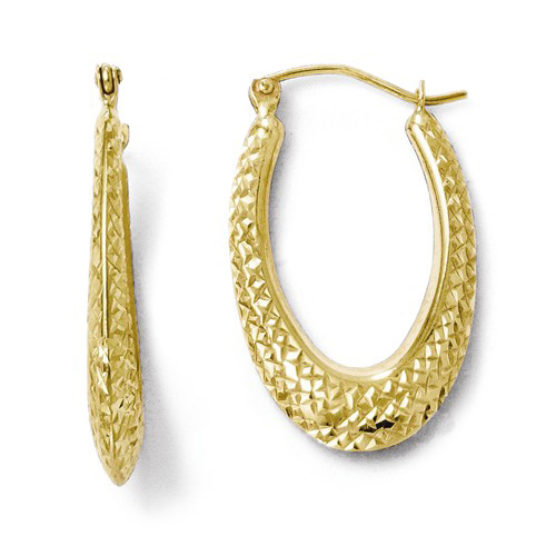 10kt Yellow Gold 1in Diamond-cut Oval Hoop Earrings