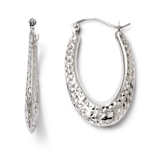 10kt White Gold 1in Diamond-cut Oval Hoop Earrings