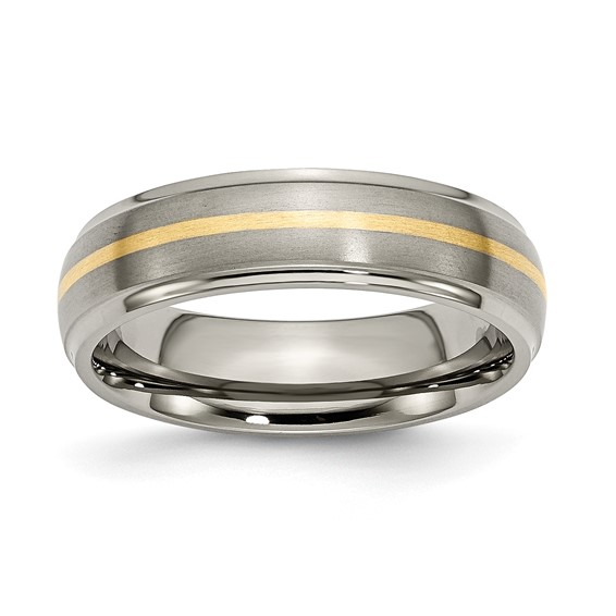 Titanium 14k Gold Inlay Wedding Band with Polished Edges 6mm