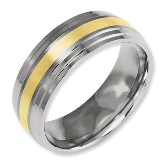 Titanium 14k Gold Inlay 8mm Brushed and Polished Wedding Band