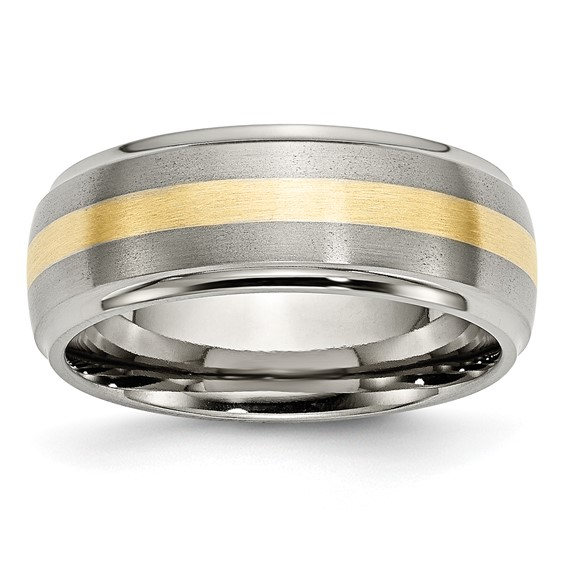 Titanium 8mm Brushed and Polished Ring with 14k Gold Inlay