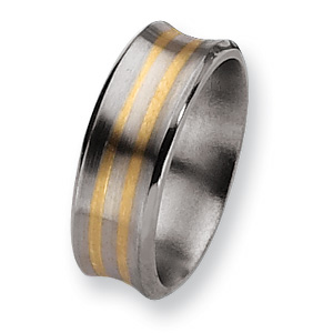 Titanium 14k Gold Inlay 8mm Concave Band