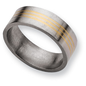 Titanium 8mm Band with 14k Gold Inlays