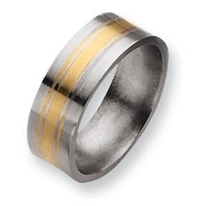 Titanium 14k Gold Inlay 8mm Satin Band