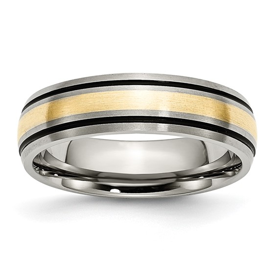 Titanium 14k Gold Inlay 6mm Band