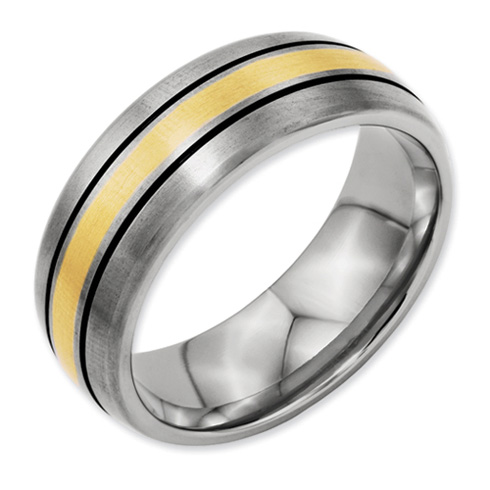 Titanium 14k Yellow Gold Inlay Wedding Band with Stripes 8mm