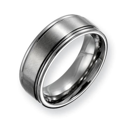 Titanium 8mm Brushed Wedding Band with Polished Ridged Edges