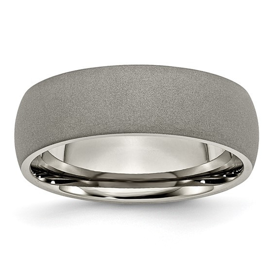 Titanium 7mm Wedding Band with Stone Finish