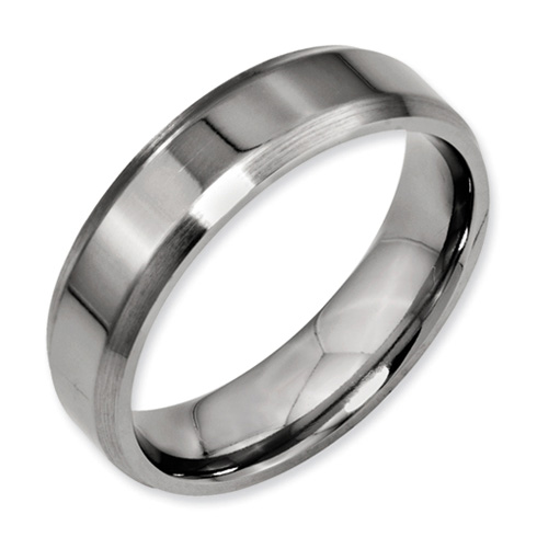 Titanium 6mm Wedding Band with Brushed Beveled Edges