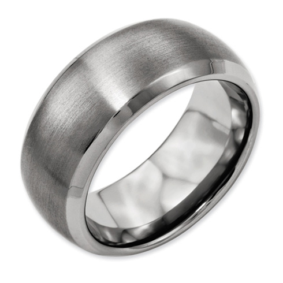 Titanium 10mm Satin Wedding Band with Beveled Edges