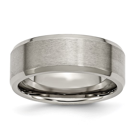 Titanium 8mm Brushed Wedding Band with Beveled Edges