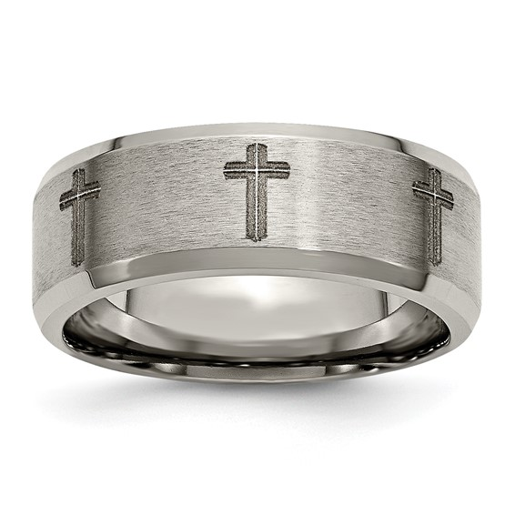 Titanium 8mm Beveled Edge Cross Design Ring