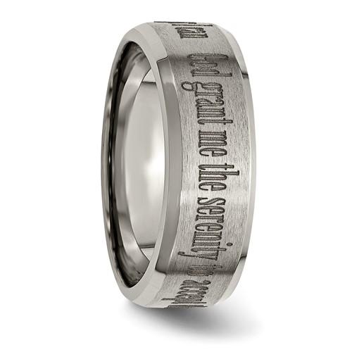 Titanium 8mm Beveled Edge Serenity Prayer Wedding Band