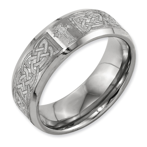 Titanium 8mm Celtic Cross Design Ring with Beveled Edges