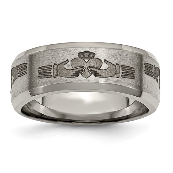 Titanium Beveled Edge 8mm Sacred Heart Design Band