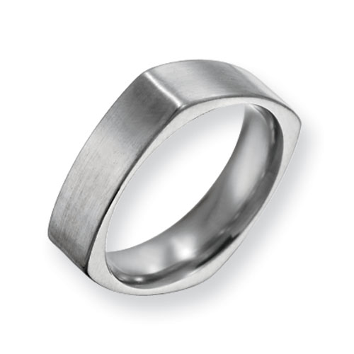 Titanium 6mm Square Satin Ring