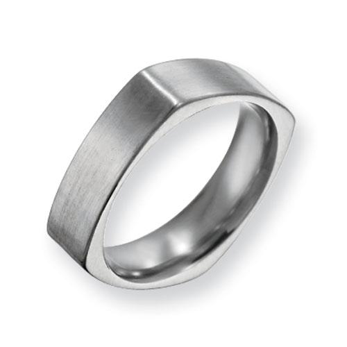 Titanium 6mm Square Satin Ring