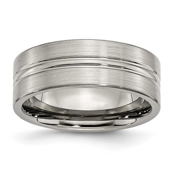 Titanium 8mm Brushed Wedding Band with Grooved Center