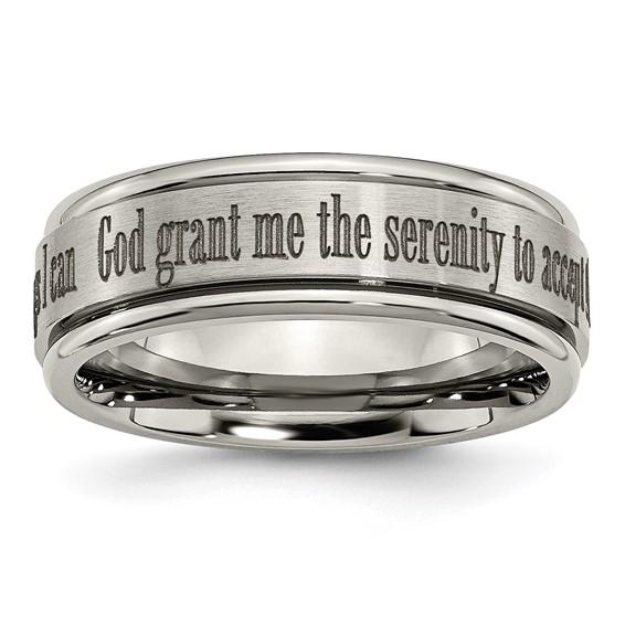 Titanium 8mm Serenity Prayer Ring with Ridged Edges